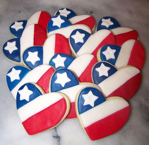 50+ Best 4th of July Desserts - Patriotic Heart Cookies