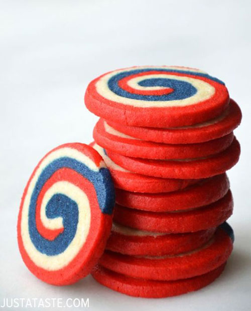 50+ Best 4th of July Desserts - Patriotic Pinwheel Cookies