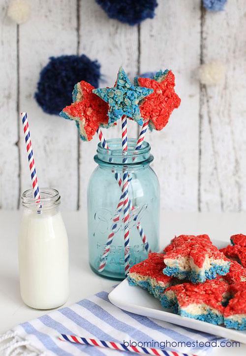 50+ Best 4th of July Desserts - Patriotic Rice Krispie Treats