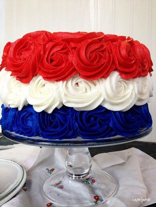 50+ Best 4th of July Desserts - Patriotic Rose Cake