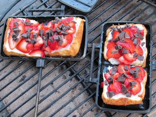 30+ Best Campfire Desserts - Pie Iron Strawberry Shortcake