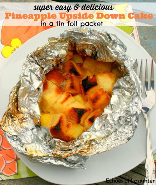 30+ Best Campfire Desserts - Pineapple Upside Down Cake in Foil Packet
