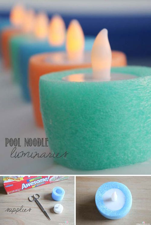 37 Awesome DIY Summer Projects - Pool Noodle Luminaries