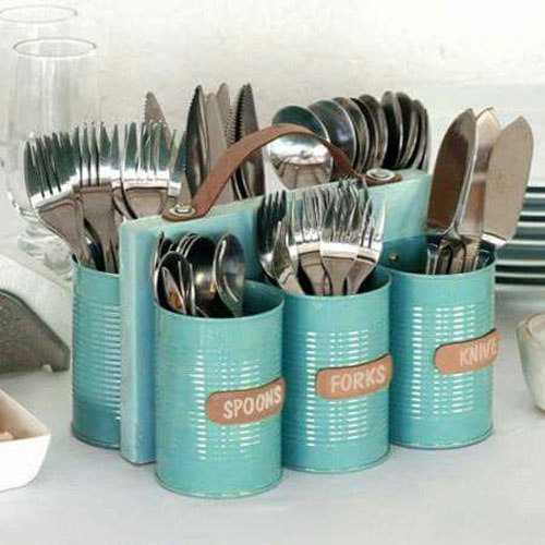 37 Awesome DIY Summer Projects - Recycled Can Utensil Caddy