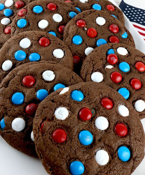 50+ Best 4th of July Desserts - Red, White and Blue Chocolate Cookies