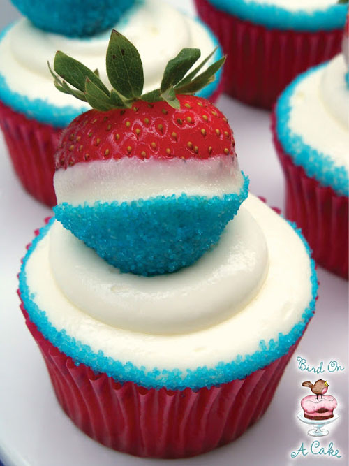 50+ Best 4th of July Desserts - Red, White and Blue Strawberry Cupcakes