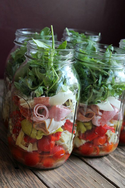 33 Healthy Mason Jar Salads - Antipasto Mason Jar Salad