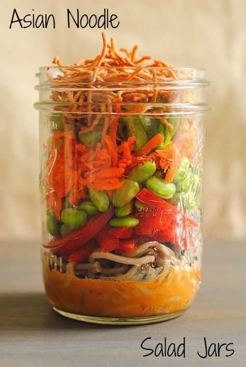 33 Healthy Mason Jar Salads - Asian Noodle Salad Jar