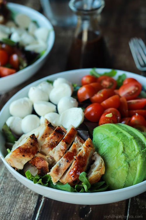 25 Meal Sized Loaded Salads - Avocado Caprese Chicken Salad with Balsamic Vinaigrette