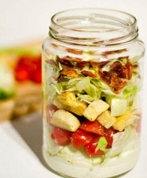 33 Healthy Mason Jar Salads - BLT Salad in a Jar