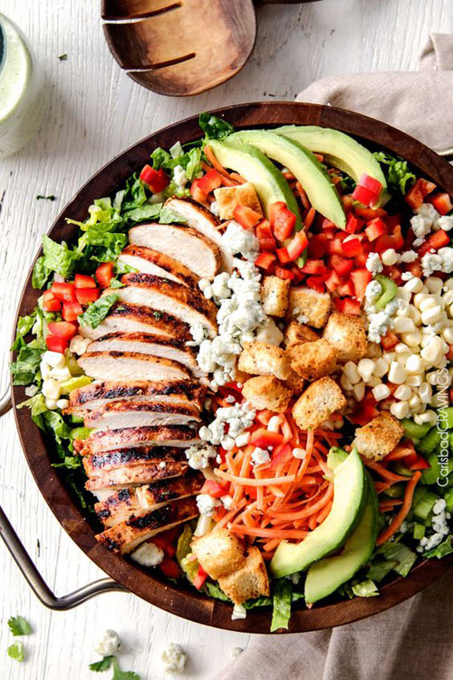 25 Meal Sized Loaded Salads - Buffalo Chicken Salad with Blue Cheese Cilantro Ranch