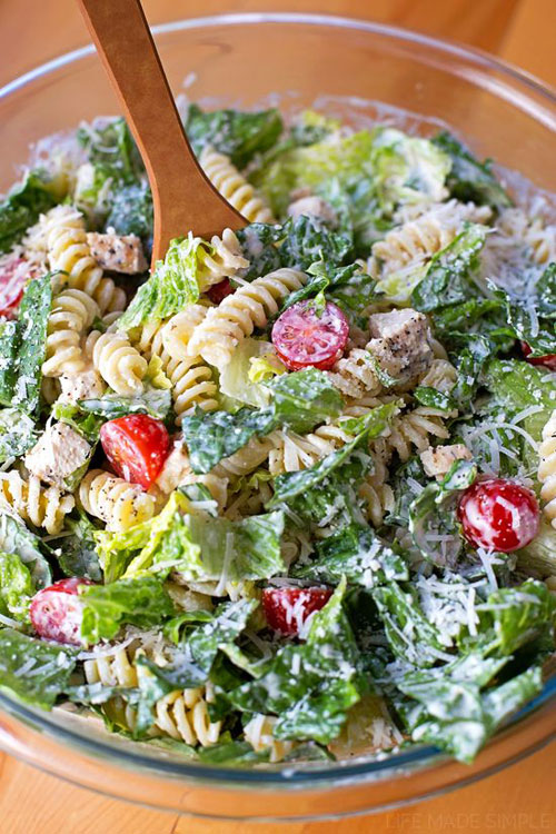 25 Meal Sized Loaded Salads - Chicken Caesar Pasta Salad
