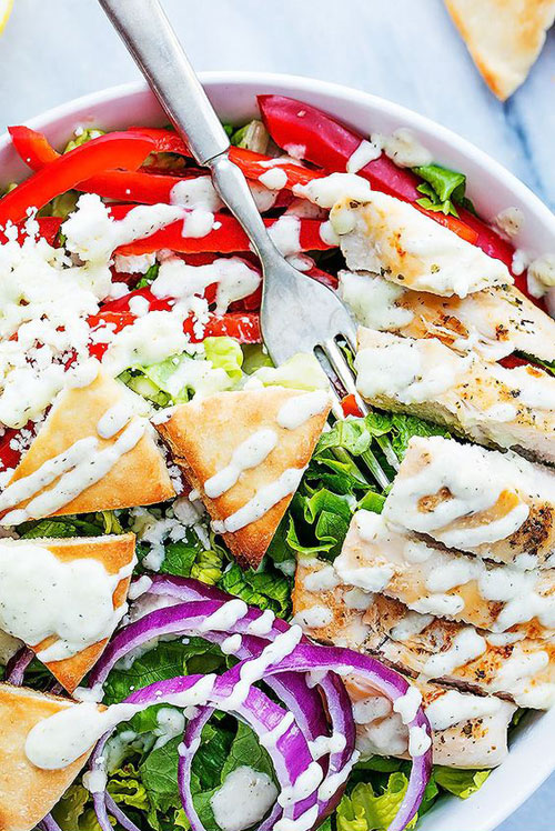 25 Meal Sized Loaded Salads - Chicken Gyro with Tzatziki Dressing