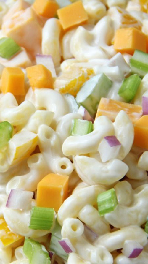 40 Best Pasta Salad Recipes - Creamy Cheddar Macaroni Salad