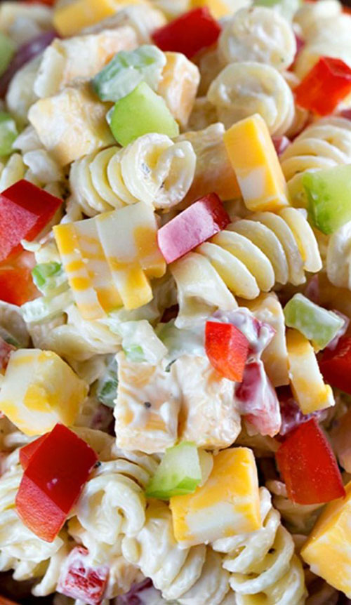 40 Best Pasta Salad Recipes - Creamy Cheddar Pasta Salad