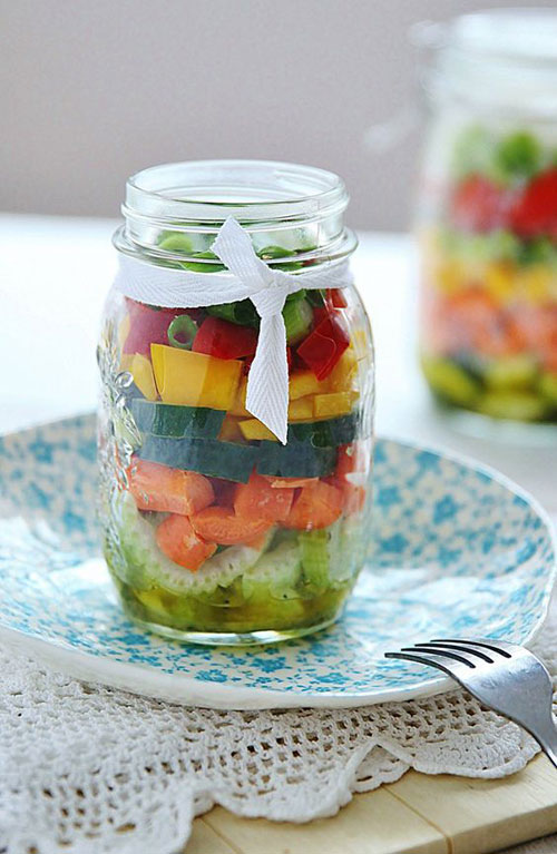 33 Healthy Mason Jar Salads - Cucumber, Celery and Tomato with Lemon Dressing