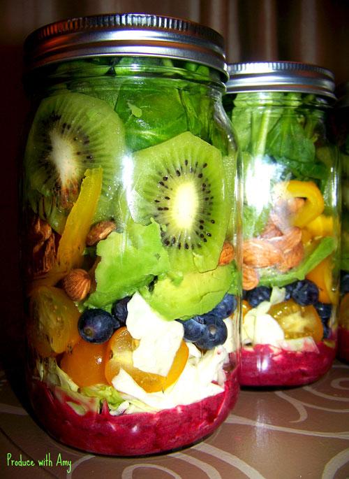 33 Healthy Mason Jar Salads - Fruit Salad with Blueberry Lemon Dressing