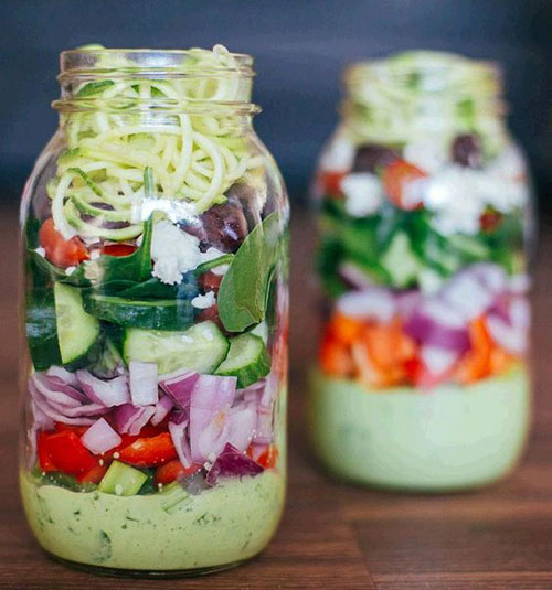 33 Healthy Mason Jar Salads - Greek Zucchini Salad in a Mason Jar