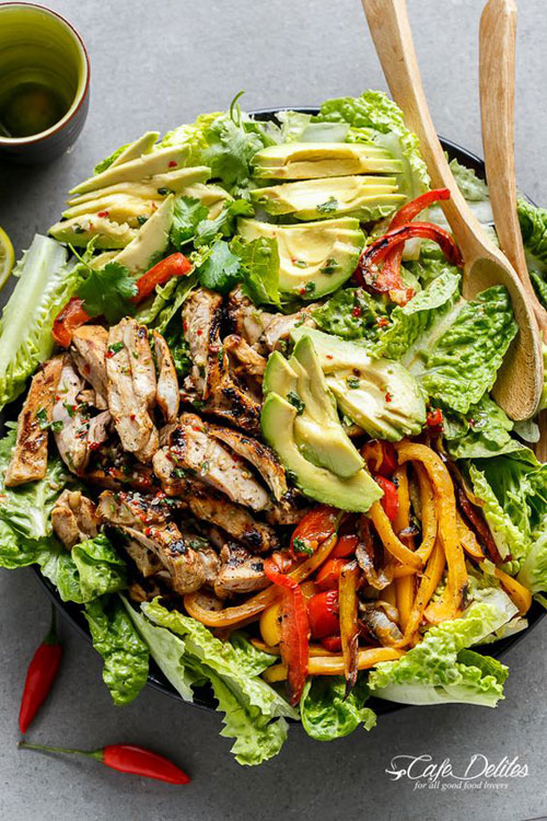 25 Meal Sized Loaded Salads - Grilled Chilli Lime Chicken Fajita Salad