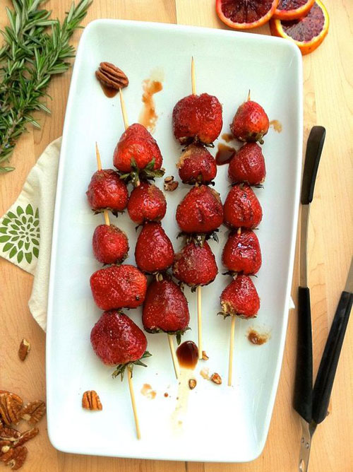 21 Things You Didn't Know You Could Grill - Grilled Strawberries Over Vanilla Ice Cream
