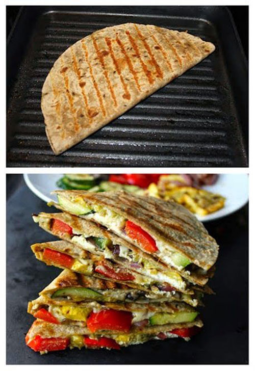21 Things You Didn't Know You Could Grill - Grilled Vegetable Quesadillas with Goat Cheese and Pesto