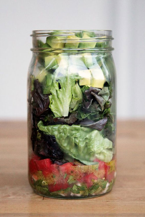33 Healthy Mason Jar Salads - Guacamole Mason Jar Salad