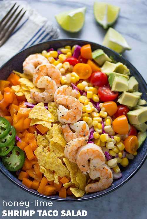 25 Meal Sized Loaded Salads - Honey Lime Shrimp and Avocado Taco Salad