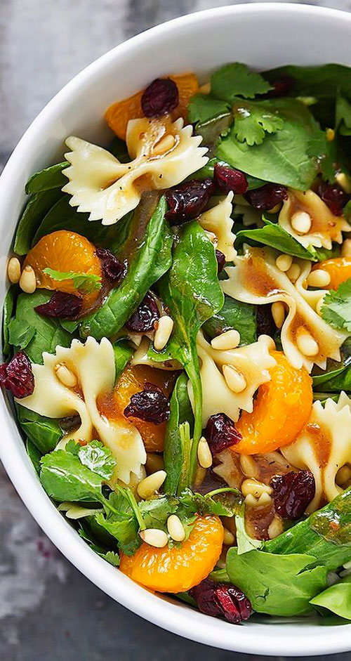 40 Best Pasta Salad Recipes - Mandarin Pasta Spinach Salad with Teriyaki Dressing