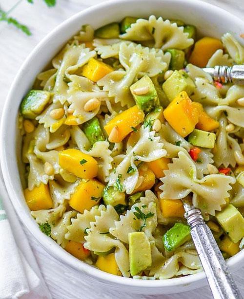 40 Best Pasta Salad Recipes - Mango Avocado Pasta Salad with Cilantro Lime Dressing