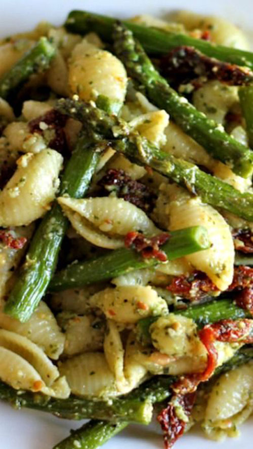 40 Best Pasta Salad Recipes - Pesto Pasta with Sun Dried Tomatoes and Roasted Asparagus