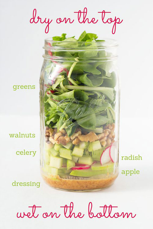 33 Healthy Mason Jar Salads - Radish, Apple and Celery Mason Jar Salad