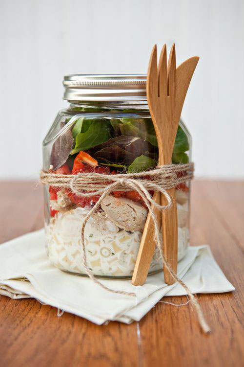 33 Healthy Mason Jar Salads - Ranch Chicken Salad in a Jar