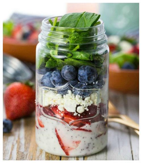 33 Healthy Mason Jar Salads - Red, White and Blue Mason Jar Salad