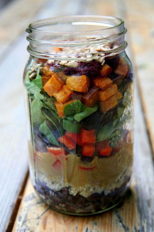 33 Healthy Mason Jar Salads - Roasted Sweet Potato and Quinoa Salad