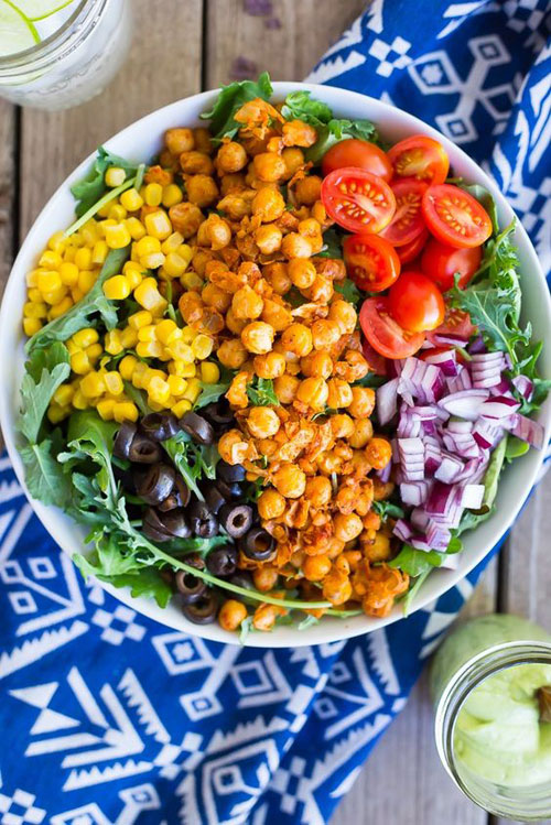 25 Meal Sized Loaded Salads - Seasoned Chickpea Taco Salad with Avocado Ranch Dressing