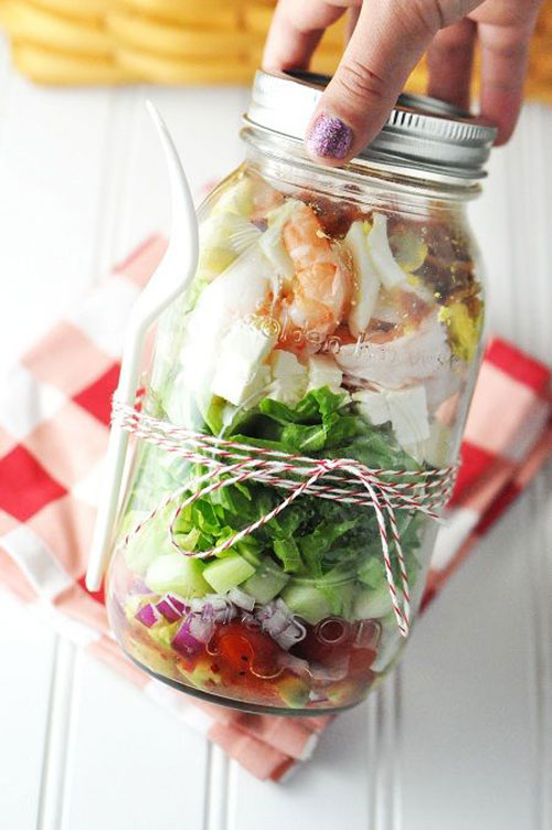 33 Healthy Mason Jar Salads - Shrimp and Feta Cobb Salad