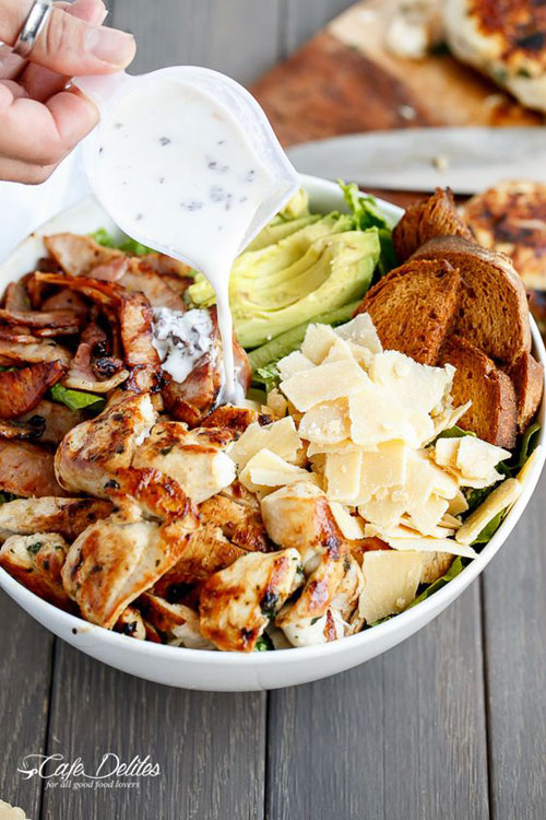 25 Meal Sized Loaded Salads - Skinny Chicken and Avocado Caesar Salad