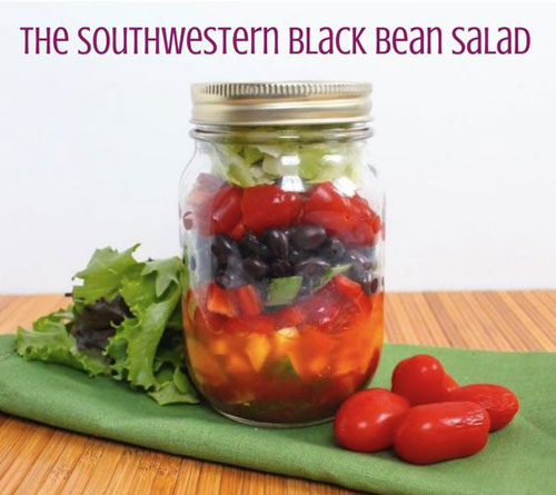 33 Healthy Mason Jar Salads - Southwestern Black Bean Salad