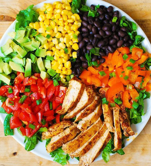 25 Meal Sized Loaded Salads - Southwestern Chopped Salad with Buttermilk Ranch Dressing