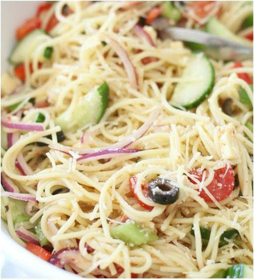 25 Meal Sized Loaded Salads - Spaghetti Salad