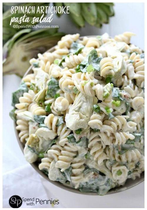 40 Best Pasta Salad Recipes - Spinach Artichoke Pasta Salad