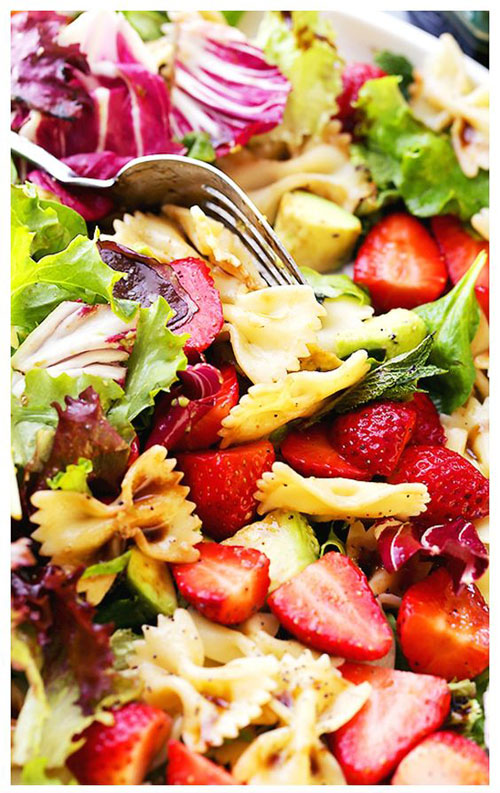 40 Best Pasta Salad Recipes - Strawberry Avocado Pasta Salad with Balsamic Glaze