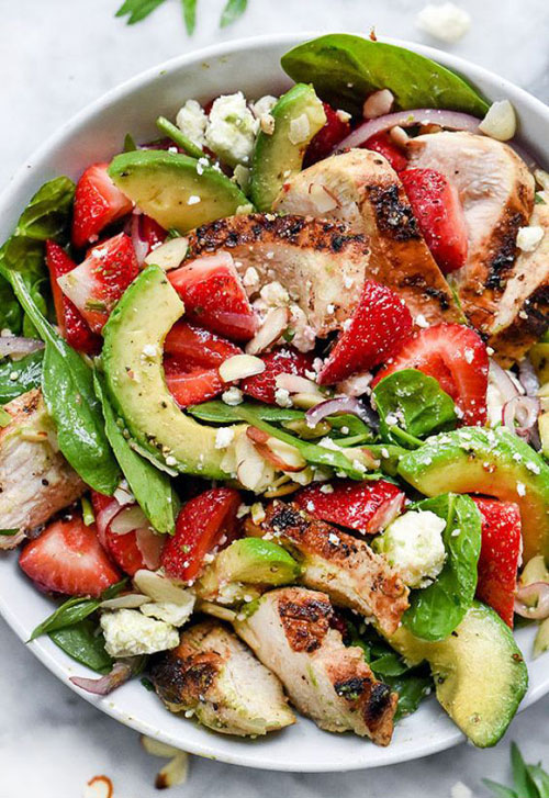 25 Meal Sized Loaded Salads - Strawberry Avocado Spinach Salad with Chicken