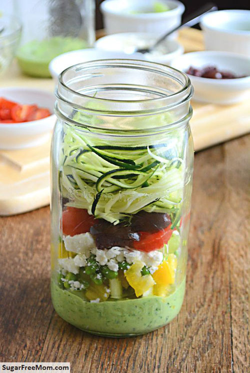 33 Healthy Mason Jar Salads - Zucchini Pasta Salad with Avocado Spinach Dressing