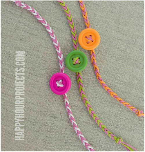 25 Back to School Craft Ideas - DIY Button Friendship Bracelets