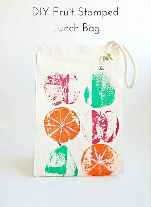 25 Back to School Craft Ideas - DIY Fruit Stamped Lunch Bag