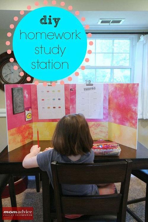 24 Back to School Organization Ideas - DIY Homework Study Station