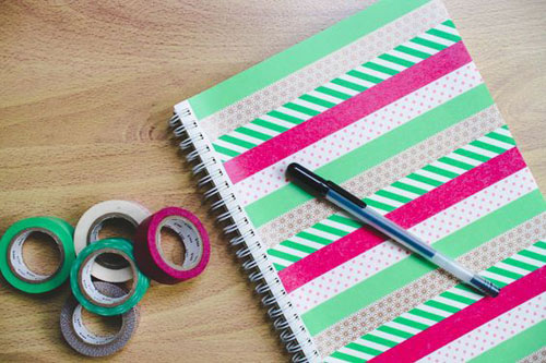 25 Back to School Craft Ideas - DIY Washi Tape Notebook