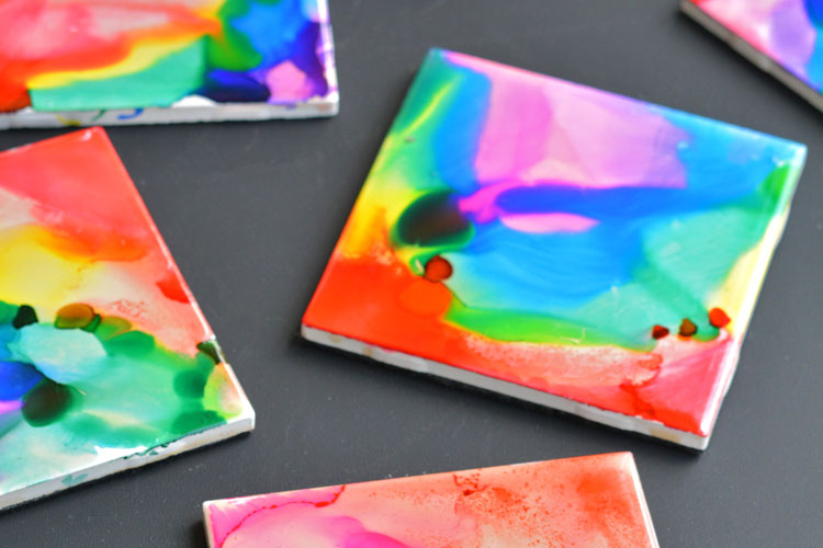 Sharpie Dyed Tile Coasters Using Rubbing Alcohol