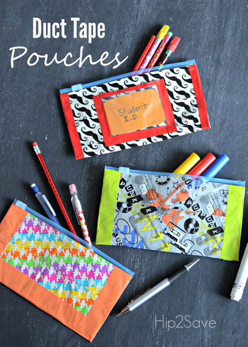 25 Back to School Craft Ideas - Duct Tape Pencil Pouches